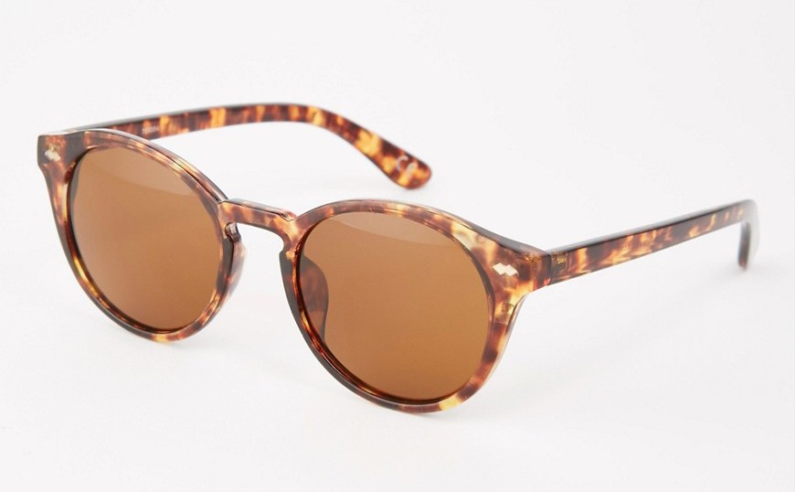 ASOS Round Sunglasses In Tort And Brown Lens