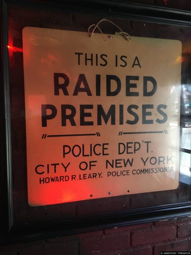 a sign from Stonewall that police used to raid the premises